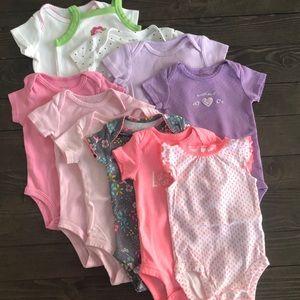 12pk! Carter's Baby Girl 3m short-sleeve onsies
